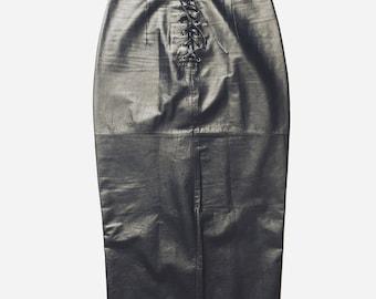 Vintage 80's High-Waisted Tight Leather Skirt Rocker Grunge