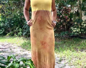 OOAK Herbal dyed Sunburst Maxi Dress