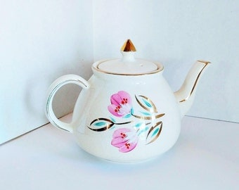 Vintage Gibsons Staffordshire England Teapot with Gold Trim - Mid Century Teapot - Hand Painted Pink Floral Design