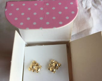 SALE! NIB Vintage Avon Teddy Bear Earrings, 1978