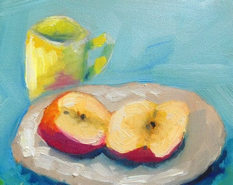 Split Apple and Cup in Oil; 8 x 8, oil on canvas; small still life painting; Original Painting