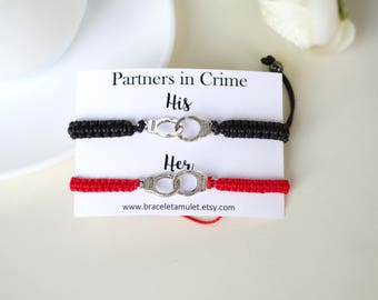 Partners in crime Gift for Couples bracelet His and her Couples jewelry Best friend bracelet Matching bracelets Mr & Mrs handcuff bracelet