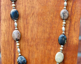 Mexican Rhodonite and Australian Freshwater Pearl Necklace