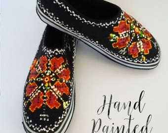 Hand Painted Shoes, Painted Embroidery Slip Ons, Handpainted Shoes, Etnic Shoes, Bulgarian Embroidery Slip On Shoes, Womans Shoes, Etnic Art