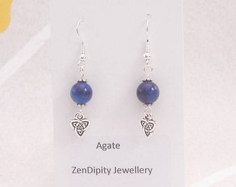 Blue Agate Earrings with Celtic Triad Knot Charm  - Throat - Chakra - September - Birthstone, UK made.