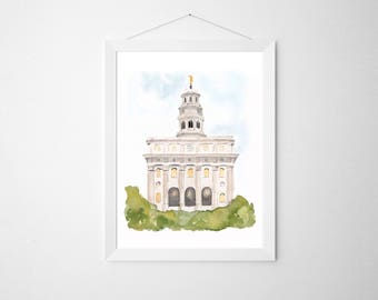 Nauvoo, IL LDS Temple, Original Watercolor | First Christmas Gift | LDS Christmas Gift