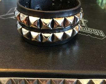 Two row Studded leather bracelet