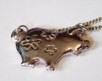 Vintage pink pig necklace