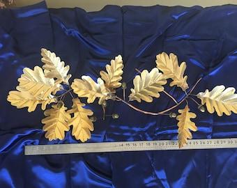 """Brass Oak Leaves & Acorn 34"""" Spray"""