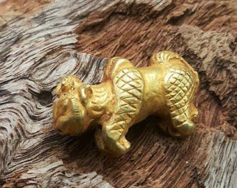 Charming ORIGINAL! Antique Genuine Solid 22K gold Mythical Sacred Cow Bead