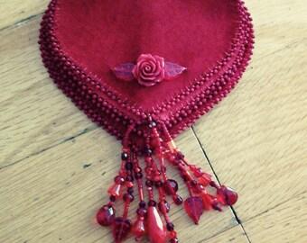 Red rose gypsy flower purse