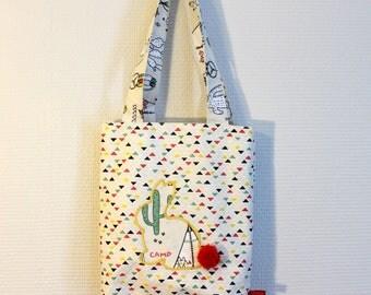 Tote bag de Pâques, Tote bag en tissu fait main, tote bag enfant, sac cabas en coton, sac en toile Lapin, pompon, Chasse aux oeufs
