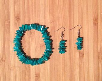 Blue Seashell Chip Bracelet & Earring Set