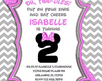 Oh Twodles Minnie Mouse Birthday Invitation Digital File
