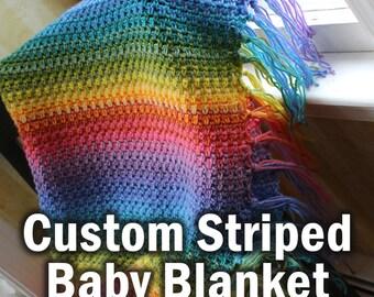 Custom Striped Baby Blanket