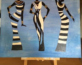 "Acrylic painting ""Three women"" original"