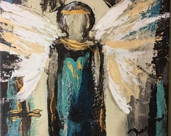 Guardian Angel Paintings~Guardian Angel Gifts~Guardian Angel Art~Canvas Art Prints~Giclee Print-8x8