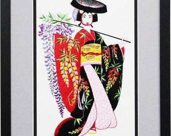 Japanese Geisha Framed Embroidered Picture