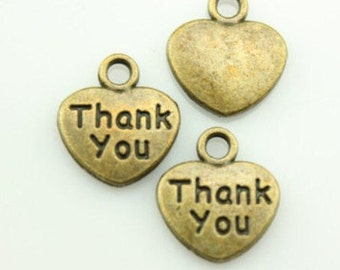Made with Love, Thank You & Handmade Charms In Silver and Bronze