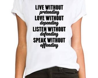 Live,Love,Listen without ladies fitted fashion tumblr Rihanna printed hipster swag  ladies/womens/girls 100% cotton tshirt tops tee