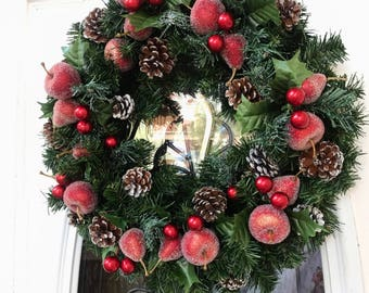 Christmas wreath, winter wreath, wreath for door, front door wreath, wreath for fireplace , wreaths, evergreen wreath, fern wreath