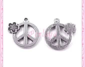 Set of 15 REF1882X3 silver Peace charms