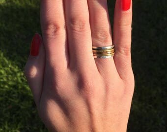 Spinning sterling silver ring w/ copper and bronze bands
