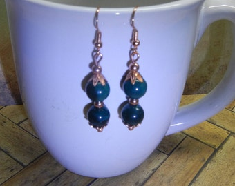 Handcrafted Solid Copper and Green Glass Bead Earrings Drop/Dangle