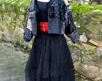 Boro style jacket made from old patterned cotton fabrics