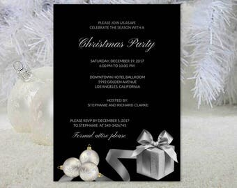 DIY Printable Holiday Party Invitations Elegant Christmas