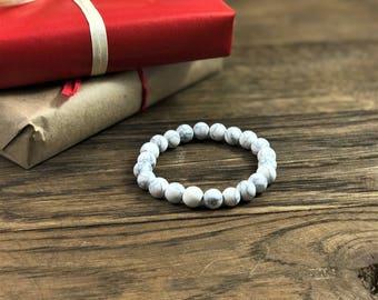 Howlite Bracelet by WestMarketDesign | Howlite Stone Bead Jewelry Design, White Rock Bracelet | Quality Stone Bohemian Bracelet For Less