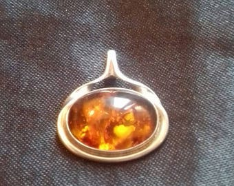 Amber amber pendant silver Fischland amber pendant, vintage, 835 silver/silver