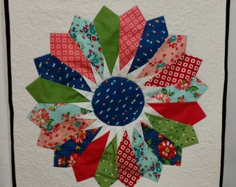 Custom Quilted Folded Dresden Plate Wall Hanging