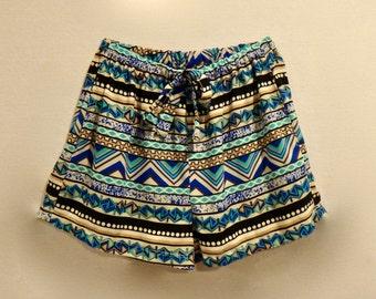 Blue Aztec Shorts