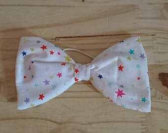 White bow for hair (star pattern)