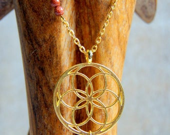 Flower of life and goldstone beads chain necklace
