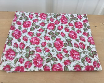 Feed sack fabric vintage Pink rose print fabric (hemmed on all sides)