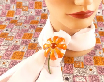 Vintage enamel flower brooch - orange and brown