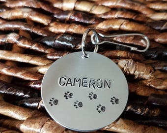 """hand stamped bag tag, large (1.25"""")"""