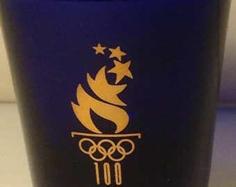 Olympic 1996 Atlanta Georgia USA Cobalt Blue Shot Glass