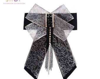 Grosgrain bow tassel brooch,bow brooch,Luxury fashion,Tassel bow brooch,Grosgrain bow brooch,Designer jewelry,Vintage brooch,Dress brooch