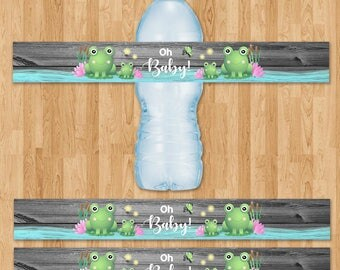 Frog Baby Shower Drink Labels - Reclaimed Wood - Baby Frog Water Bottle Label - Baby Shower Label - Froggy Themed Shower - Frog Party Favors