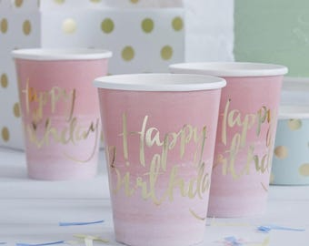 Pink and Gold Ombre Happy Birthday Paper Party Cups, Party Cups, Pink Cups, Paper Cups, Birthday Cups, Ombre Party