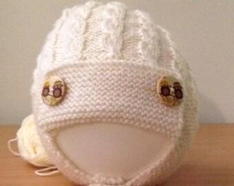 Cream Merino Aviator Hat