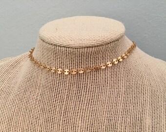 Gold Circle Chain Choker