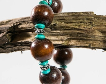 Wood and Turquoise Bracelet(DF/BL/NO48)