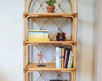 Rattan shelf, vintage rattan, bamboo shelf, rattan bookshelf, rattan furniture