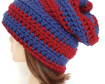 Extra Large Super Chunky Slouch Red and Blue Winter Hat