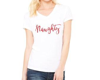 Naughty, Funny Christmas Shirt, Dear Santa I tried, Naughty or Nice, Christmas Shirt, NAUGHTY RED INKB