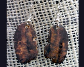Modern Dark Wood Slice Slab Dangle Earrings